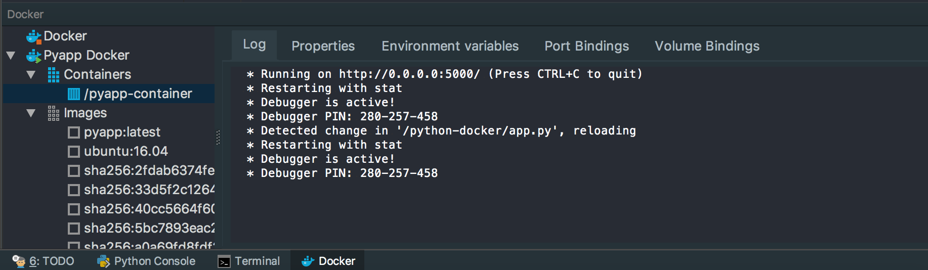 changed docker view